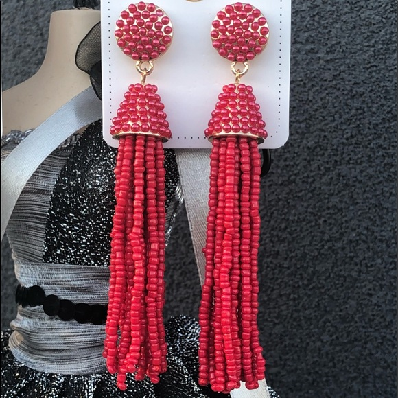 Atelier Sona Jewelry - Beaded Tassel Drop Earrings Red Gold Hard Ware